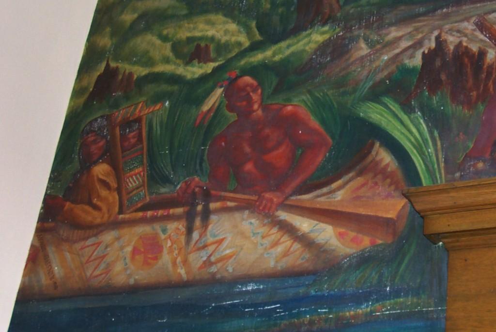 Detail 1941 Mordi Gassner Mural Oxford New York post office