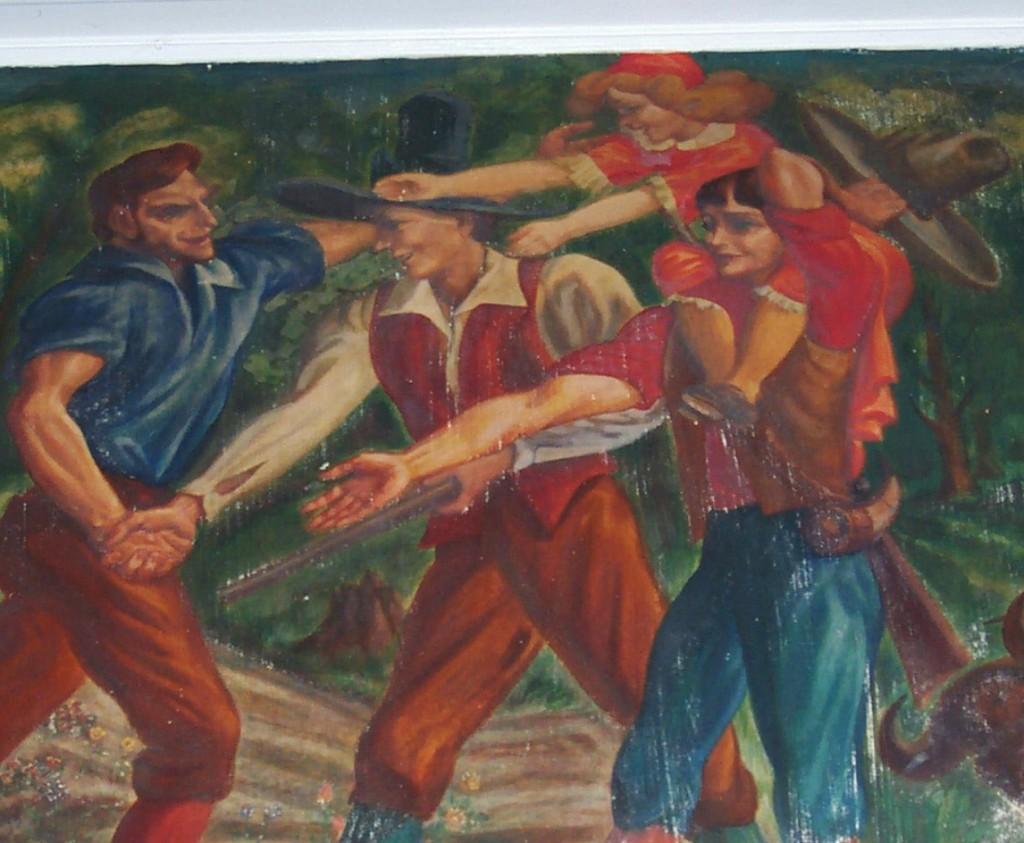 Detail, 1941 Mordi Gassner Mural Oxford New York post office