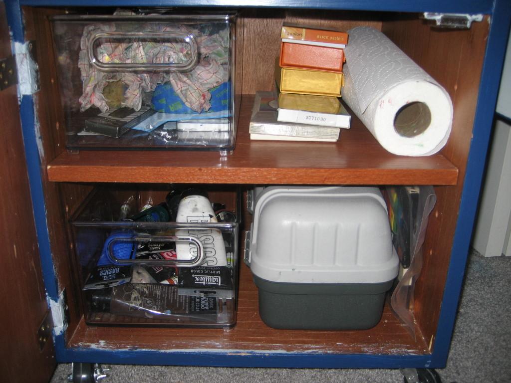 Interior of DIY artist taboret